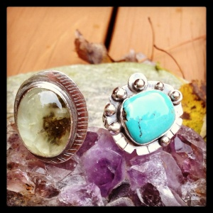 Prehnite and turquoise rings