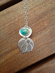 Turquoise and leaves pendant